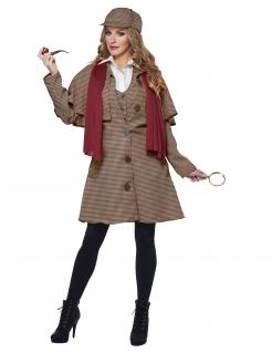 Detektiv-Verkleidung für Damen Karneval-Kostüm Kostüm-Set mit Accessoiresbraun-rot