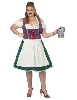 Dirndl-Kostüm für Damen in Übergrösse Faschingskostüm grün-weiss