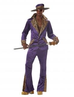 Pimp Daddy 70er-Jahre-Kostüm Disco-Kostüm für Herren 3-teilig violett-schwarz-braun