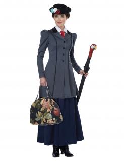 Nanny-Kostüm Englische-Dame-Kostüm grau-blau-schwarz