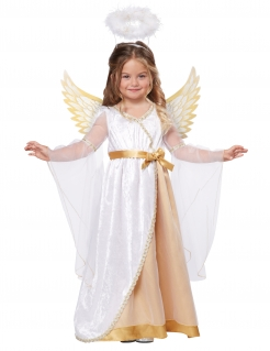 Engel-Kostüm für Kinder Krippenspiel-Kostüm Fasching-Kostüm 3-teilig weiss-gold