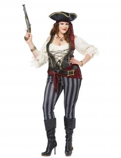 Piraten-Kostüm Damen in Übergrösse Karneval-Kostüm rot-schwarz-blau