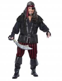 Piraten-Kostüm für Erwachsene Herren-Kostüm schwarz-rot