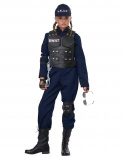 Cooles Kinder-Kostüm SWAT-Kostüm Kinder-Karneval-Kostüm blau-schwarz 7-teilig