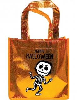 Funkelnde Halloween-Tasche mit Skelett-Motiv Süsses oder Saures Süssigkeiten-Tasche orange