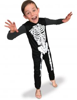 Ärmelloses Skelett-Kostüm für Jungen Halloween-Kinderkostüm schwarz-weiss