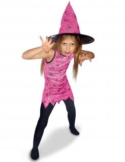 Spinnen-Hexe-Mädchenkostüm Halloween-Kostüm rosa-schwarz