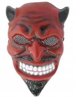 Klassische Teufelsmaske für Erwachsene rot-schwarz-weiss