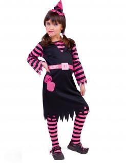 Süsses Hexenkostüm für Mädchen Halloween-Kinderkostüm schwarz-pink