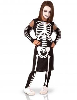 Skelett-Kostüm für Mädchen Skelettkleid schwarz-weiss