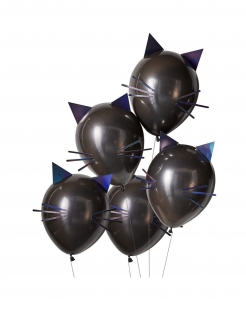 Katzen-Luftballon Halloween-Dekoration 5 Stück schwarz 30 cm