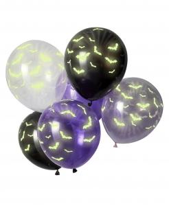 Leuchtende Halloween-Luftballons mit Fledermäusen phosphoreszierend 6 Stück bunt