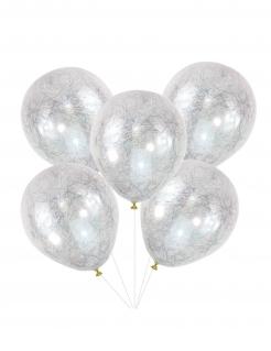 Luftballons mit Engelshaar edele Partydeko 5 Stück gold-weiß 30cm