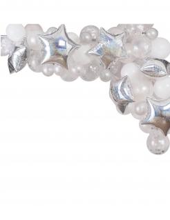 Luftballon-Sternenbogen 65-teilig silberfarben-weiß