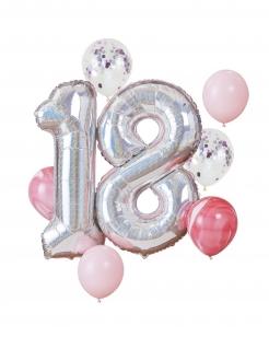 18 Jahre Luftballonset Partydeko 8-teilig silber-rosa