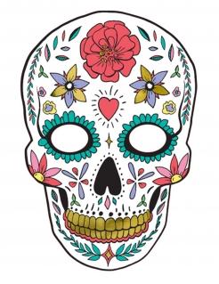 Tag der Toten-Pappmaske Halloween-Maske weiss-bunt 19x28 cm