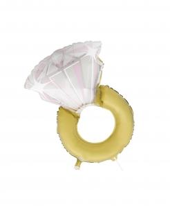 Verlobungsring-Ballon Motivballon Hochzeitsdeko gold-weiß 81 cm
