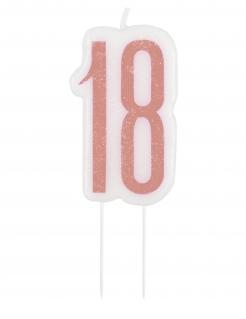 Geburtstagskerze 18 Geburtstag-Deko rosa-weiss