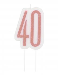 Geburtstagskerze 40 Geburtstags-Deko weiss-rosa