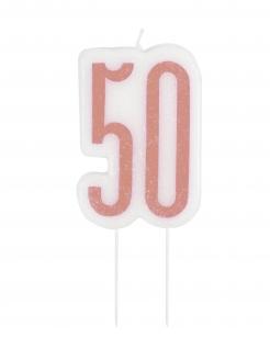 Edle Geburtstagskerze 50 weiss-rosa
