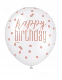Geburtstag-Ballon Luftballon 6 Stück roségold weiß 30 cm