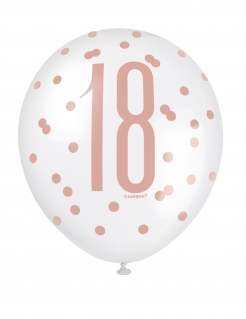 Luftballos 18. Geburtstag Partydeko 6 Stück weiss-rosa 30 cm