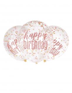 Happy Birthday Konfetti-Luftballons 6 Stück transparent-pink 30 cm