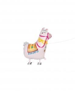 Lama-Ballon Folienballon laufendes Lama weiss 73 cm