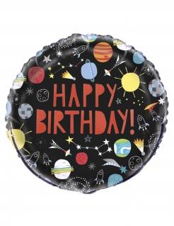 Happy Birthday-Aluminiumballon Weltall bunt 45 cm