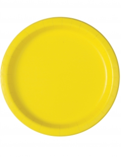 Partyteller Pappteller Tischedeko 16 Stück gelb 23 cm