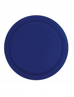 Pappteller Partydeko Tischdeko 16 Stück blau 23 cm