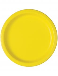 Kleine Pappteller Partydeko 20 Stück gelb 18 cm