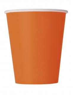 Pappbecher Partyzubehör 14 Stück orange 266 ml
