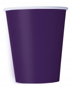 Pappbecher Partyzubehör 14 Stück lila 266 ml