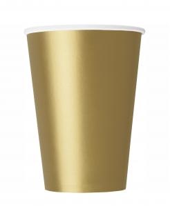 Pappbecher Tischdeko Weihnachten Silvester Geburtstag 14 Stück goldfarben 266 ml