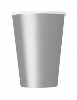 Pappbecher Partyzubehör 14 Stück silber 266 ml