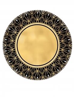 20er-Jahre Pappteller Charleston 8 Stück goldfarben-schwarz 27 cm