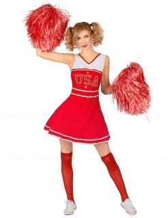 Cheerleader-Kostüm günstiges Kostüm Damen rot-weiss