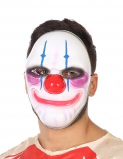 Schreckliche Clown-Maske Halloween-Maske weiss-bunt
