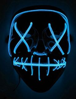 LED-Maske Halloween-Maske Mord-Nacht schwarz-blau