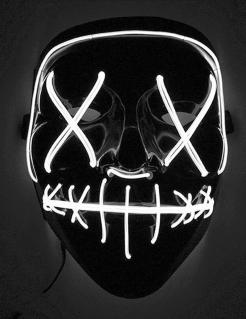 LED-Maske Mord-Nacht Halloween-Maske schwarz-weiss