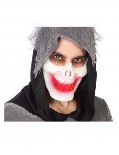 Skelett-Halbmaske Halloween-Maske rot-weiss