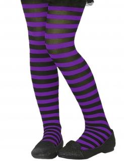 Strumpfhose für Kinder gestreift Halloween-Accessoire schwarz-lila