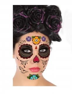 Día de los Muertos-Gesichtstattoos Make-up bunt