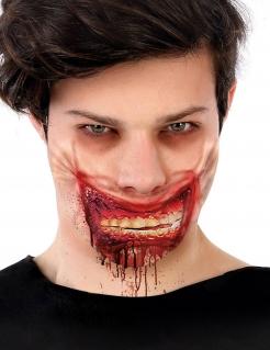 Blutiger Zombie-Mund Halloween-Wunde weiß-rot 24 x 10 cm