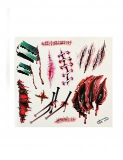 Tattoo-Wunden falsche Wunden Verletzungen Halloween-Make-up rot-grün