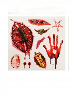 Gruselige Wund-Tattoos für Halloween 9-teilig rot-schwarz