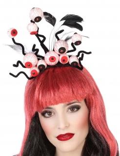 Augen-Haarreif Halloween-Accessoire Haarschmuck schwarz-weiss-rot