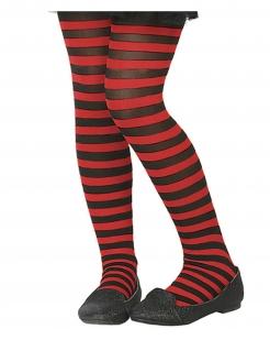 Strumpfhose für Kinder gestreift Accessoire rot-schwarz