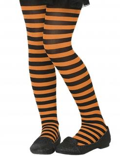 Kinder-Strumpfhose gestreift Accessoire schwarz-orange